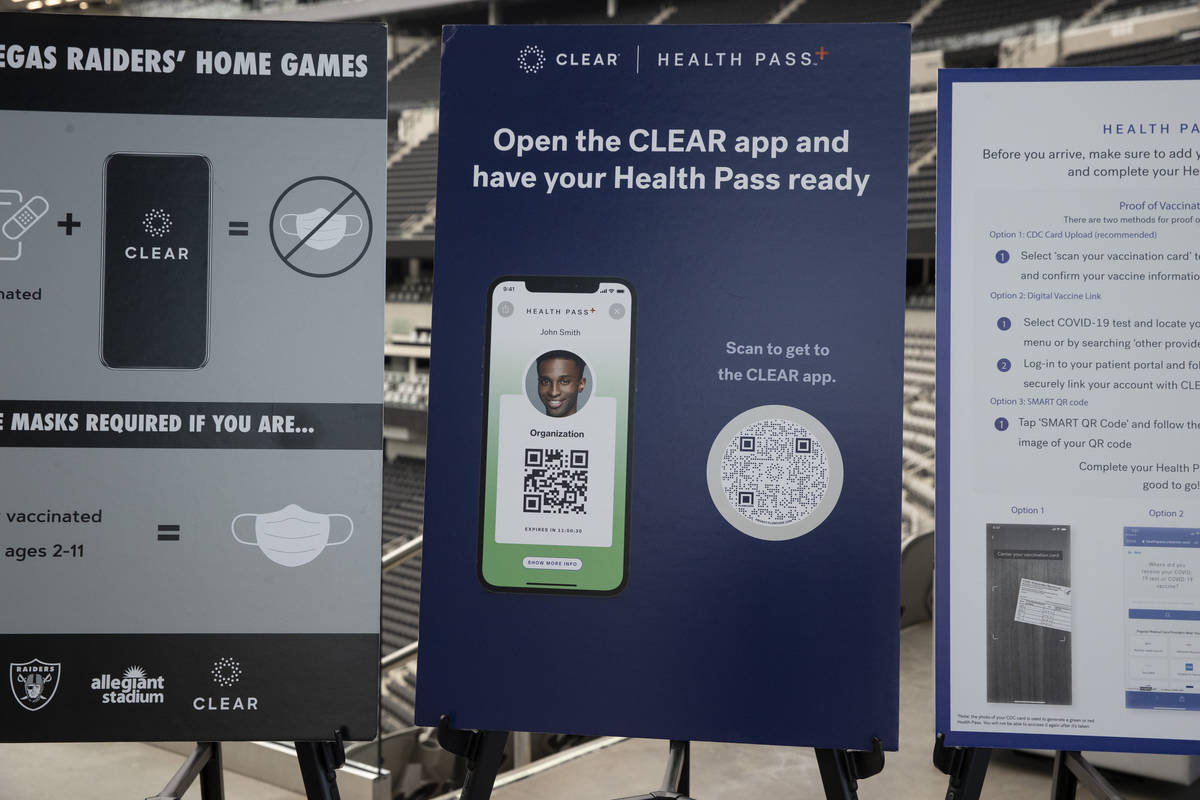 Information regarding CLEAR's health pass which will require Raiders fans to submit their COVID ...