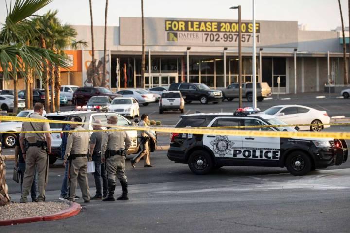 Las Vegas Metropolitan Police investigate a homicide at East Charleston Boulevard and South Mar ...