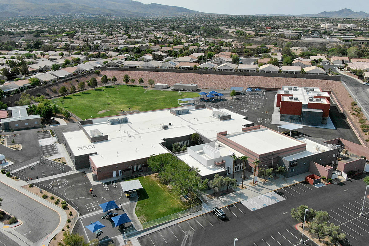An aerial view of Frank Lamping Elementary school near Eastern Avenue and Summit Grove Drive in ...