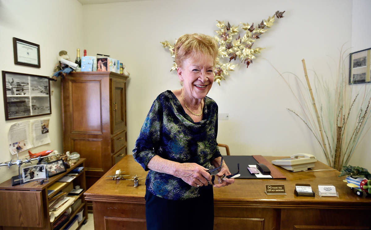 Town founder Nancy Kidwell stands in her office at the Cal-Nev-Ari Casino on Thursday, Feb. 25, ...