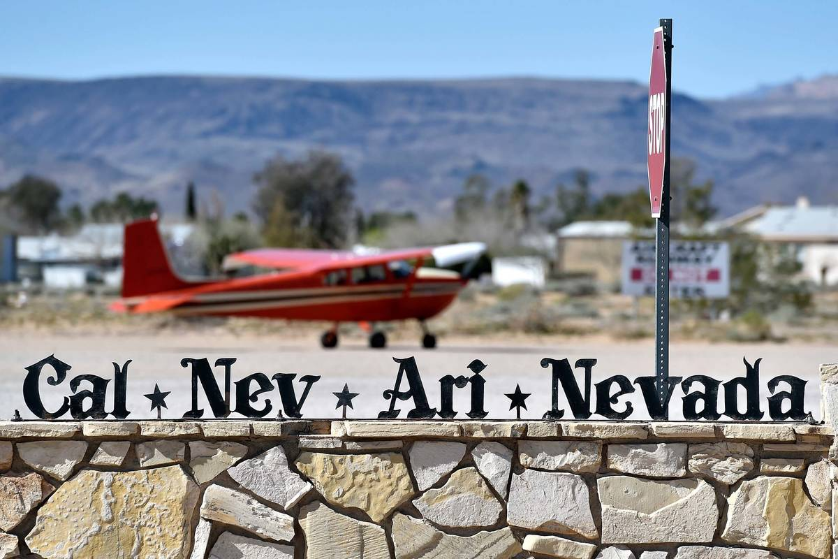 A small single-engine plane is parked just outside the Cal-Nev-Ari Casino on Thursday, Feb. 25, ...