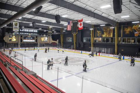 The Vegas Golden Knights skate during a practice session at City National Arena on Monday, Jan. ...