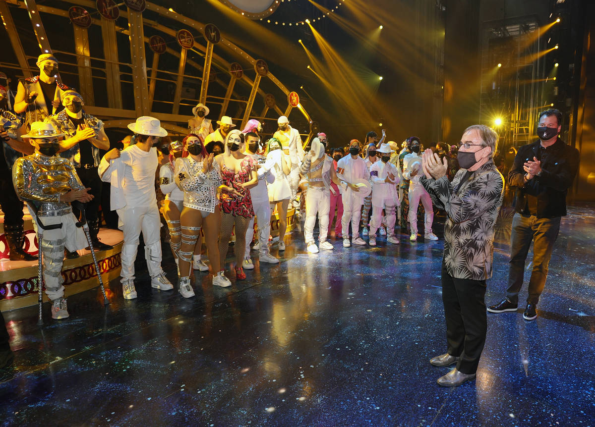 LAS VEGAS, NEVADA - AUGUST 19: Cirque du Soleil President & CEO Daniel Lamarre (C) speaks ...