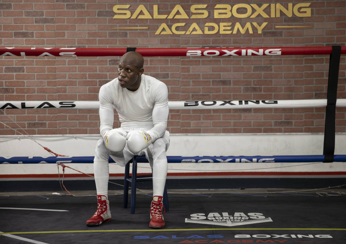 Welterweight Yordenis Ugas trains for his upcoming fight with Manny Pacquiao on Monday, Aug. 16 ...