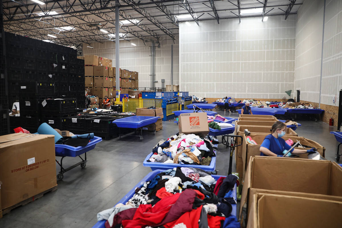 The warehouse at the Goodwill Clearance Center in Las Vegas, Monday, Aug. 16, 2021. (Rachel Ast ...