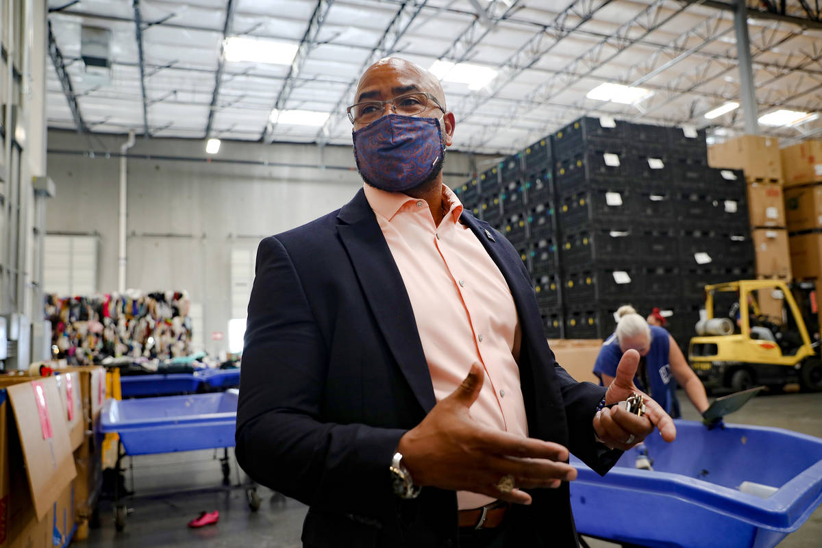 Rick Neal, CEO of Goodwill Southern Nevada, speaks to the Review-Journal at the warehouse at th ...