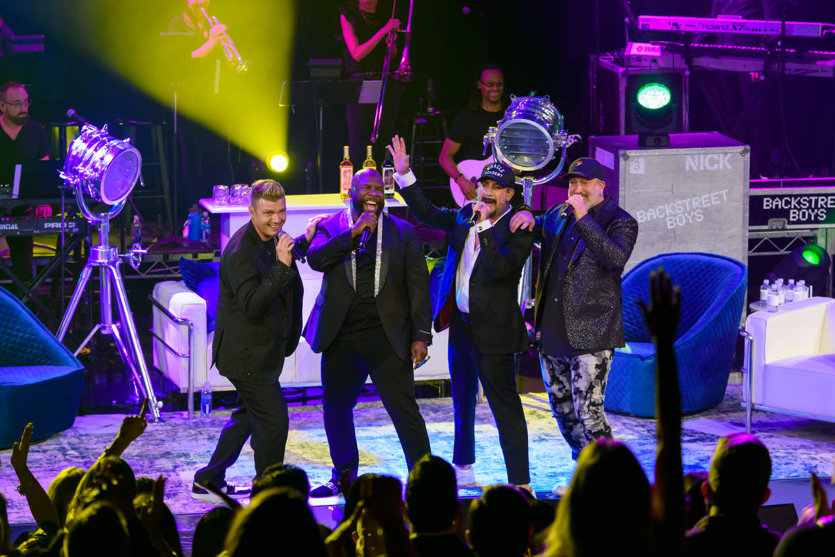 """Nick Carter, Joey Fatone, AJ McLean and Wanya Morris are shown """"The After Party"""" at Sands Showr ..."""