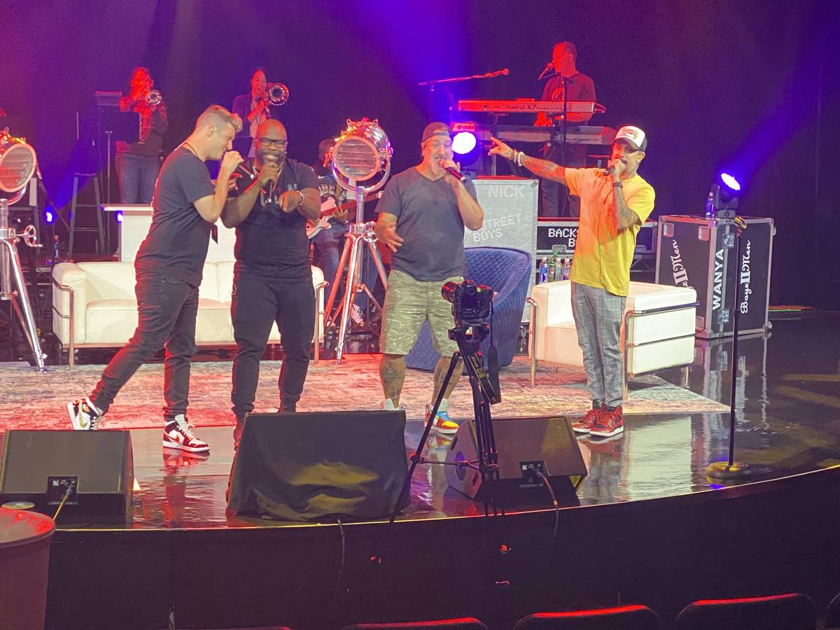 """Nick Carter, Wanya Morris, Joey Fatone and AJ McLean rehearse """"The After Party"""" at Sands Showro ..."""