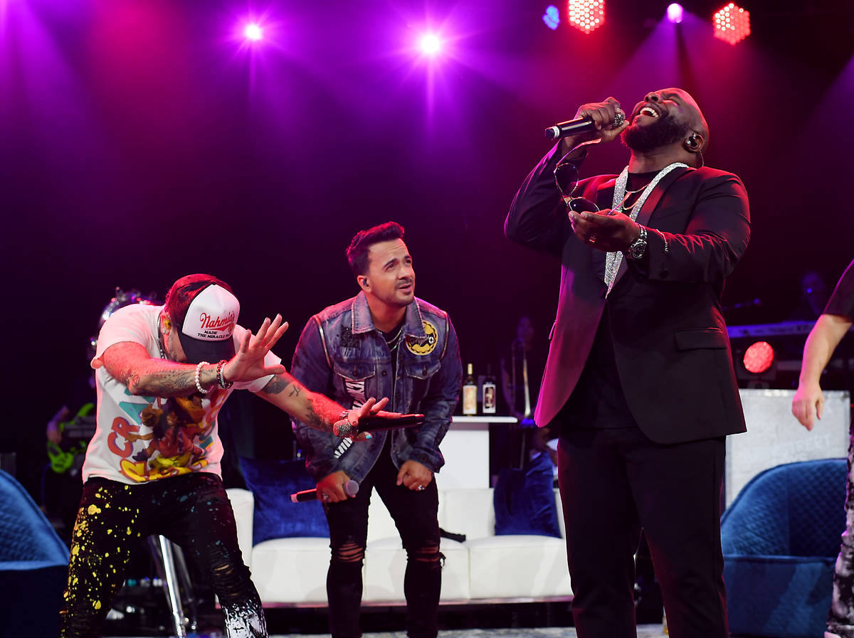 """AJ McLean, Nick Fonsi and Wanya Morris perform in """"The After Party"""" at Sands Showroom at The Ve ..."""