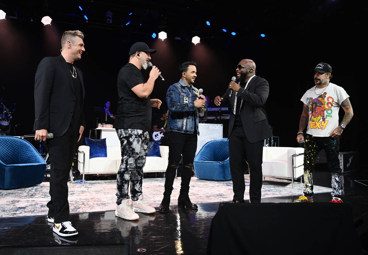"""Nick Carter, Joey Fatone, Nick Fonsi, Wanya Morris and AJ McLean are shown """"The After Party"""" at ..."""