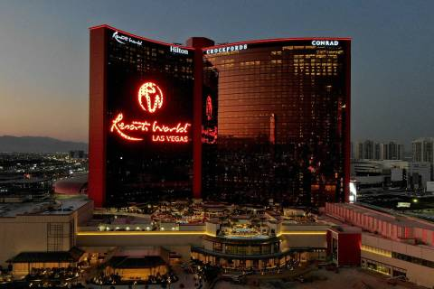 An aerial photo of Resorts World Las Vegas on the former site of the Stardust hotel casino on S ...