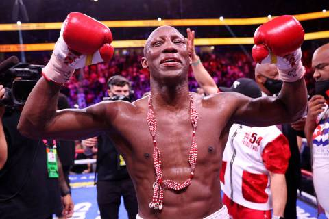 Yordenis Ugas reacts at the end of his fight against Manny Pacquiao in the WBA World Welterweig ...