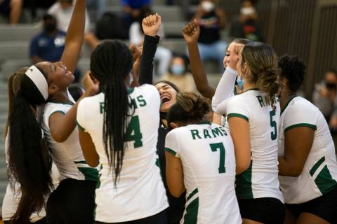Rancho girls varsity volleyball cheers after winning the first match against Western High Schoo ...