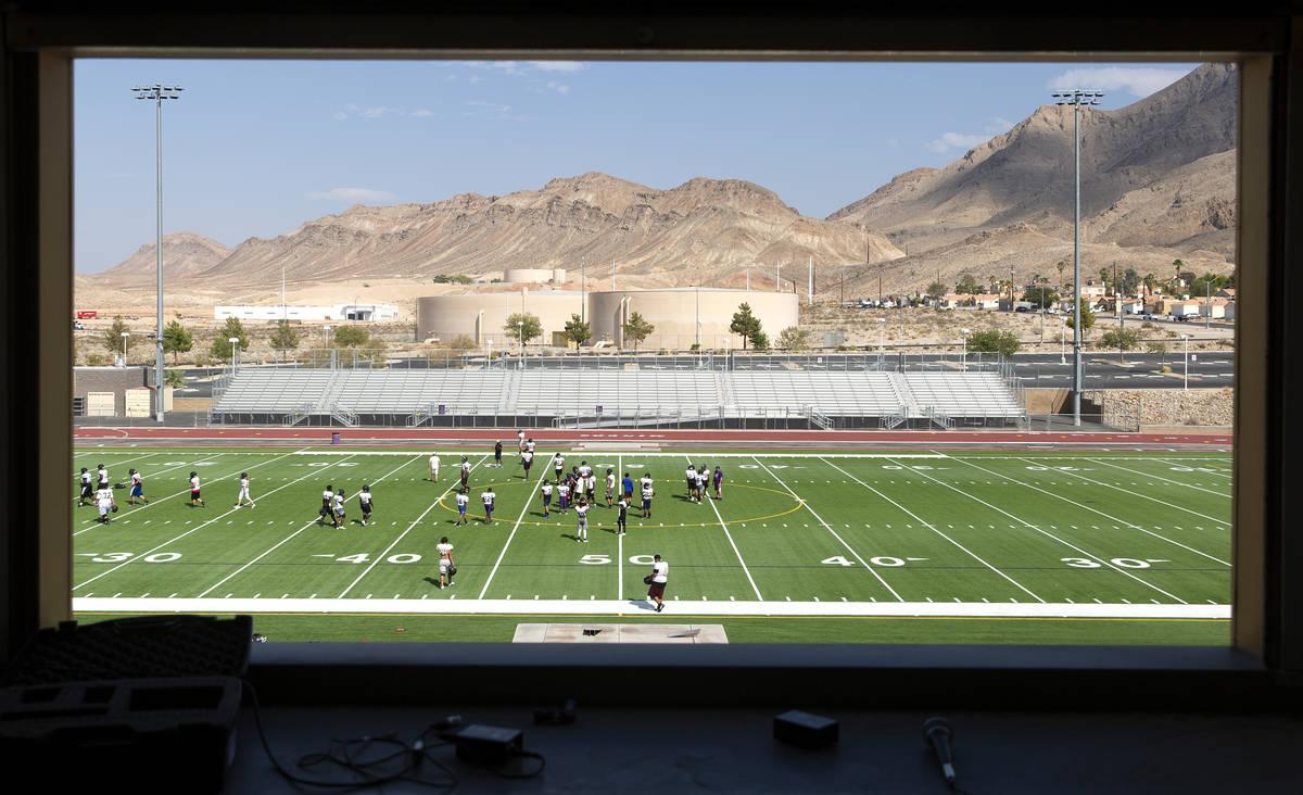 The varsity football team practices at Sunrise Mountain High School on Wednesday, Aug. 25, 2021 ...