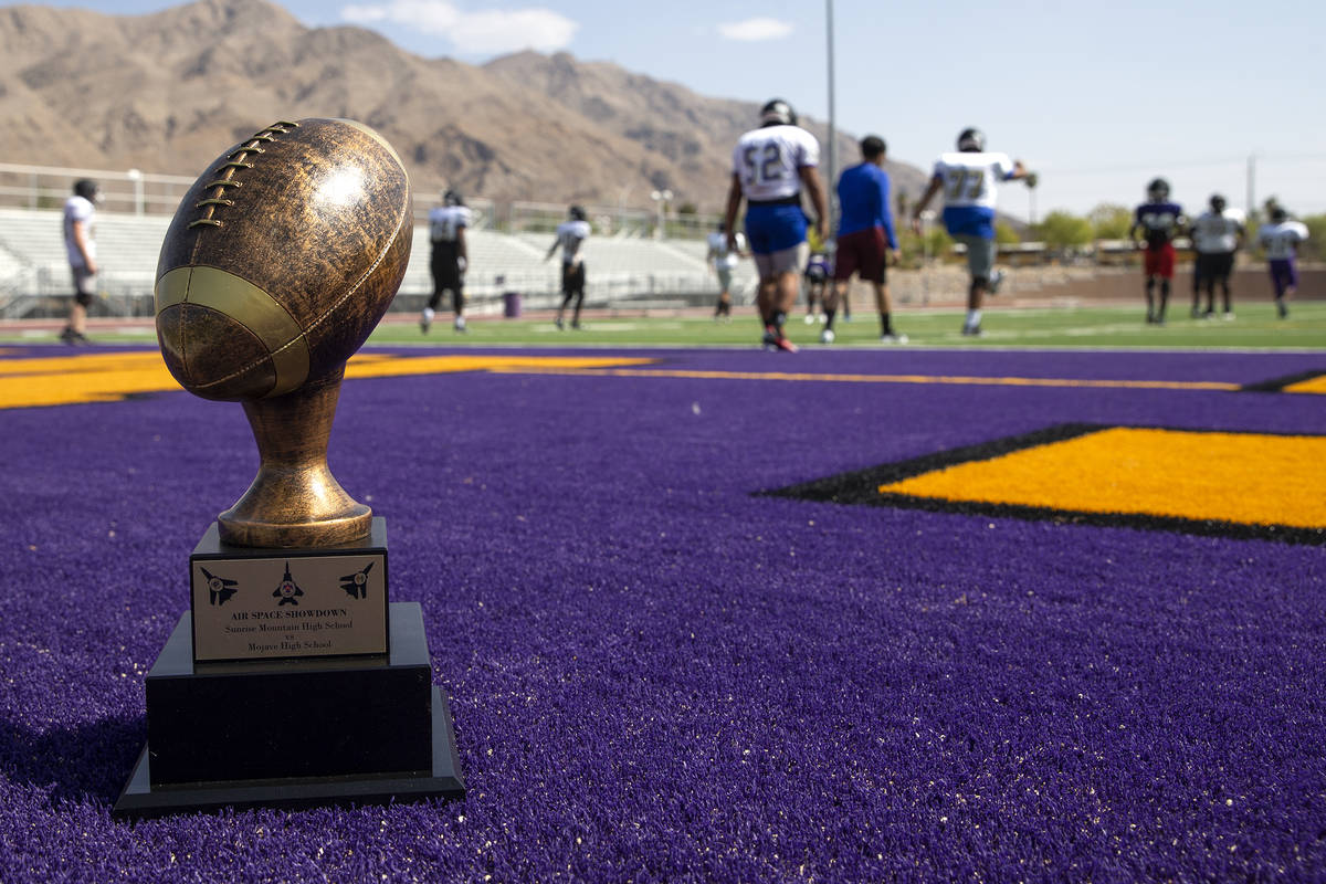 """The """"Air Space Showdown"""" trophy is posed as the Sunrise Mountain High School varsity ..."""