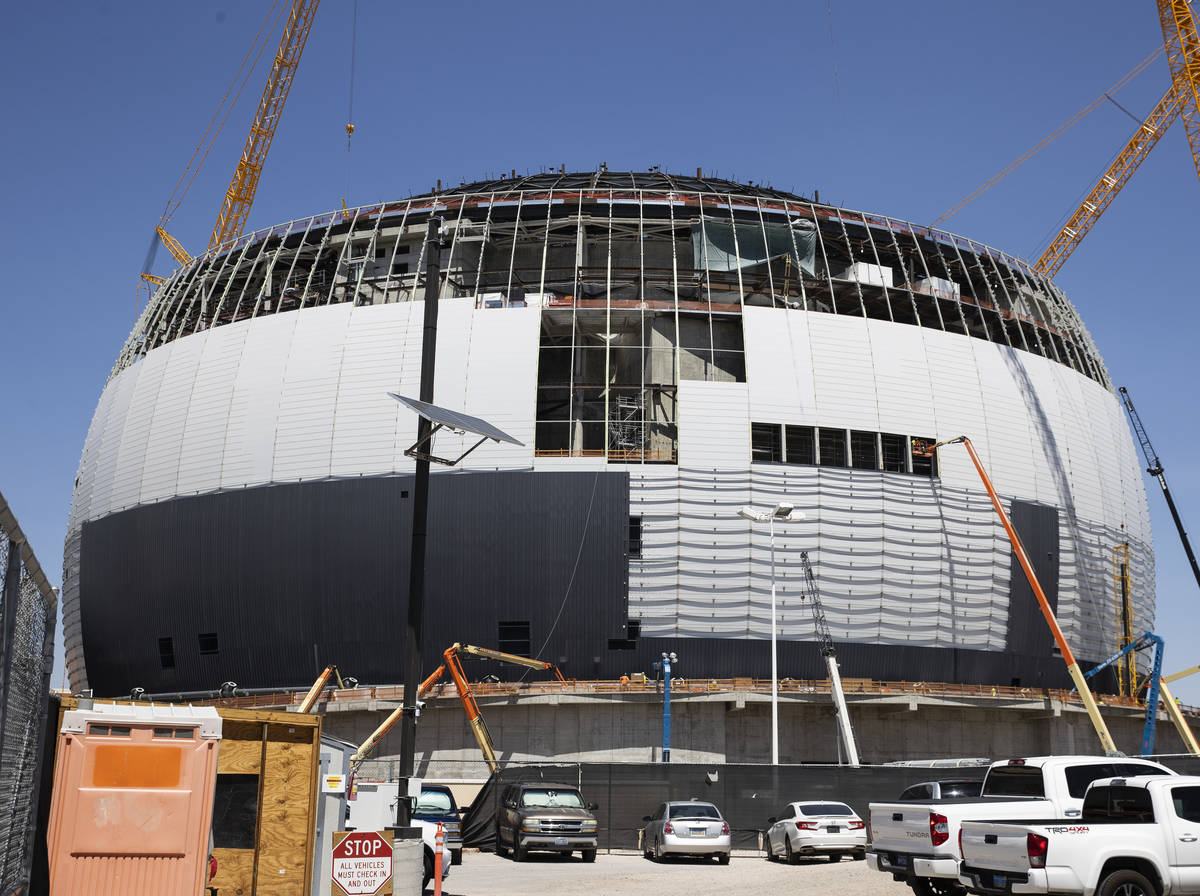 Construction continues on MSG Sphere at The Venetian, on Monday, Aug. 23, 2021, in Las Vegas. ( ...
