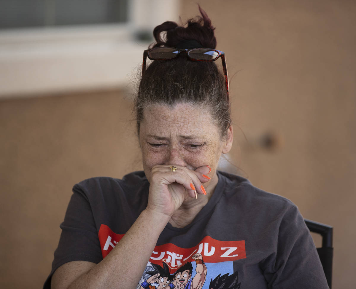 Kassy Robinson gets emotional as she talks about her son Roy Jaggers, 27, of Las Vegas during a ...
