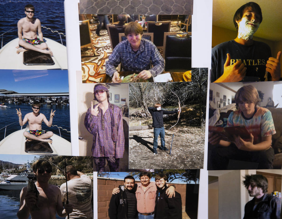 Photographs of Roy Jaggers, 27, of Las Vegas are displayed at his mother Kassy Robinson's Las V ...