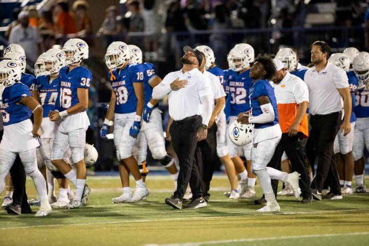Bishop Gorman takes the field after their win against St. Louis in a football game at Bishop Go ...