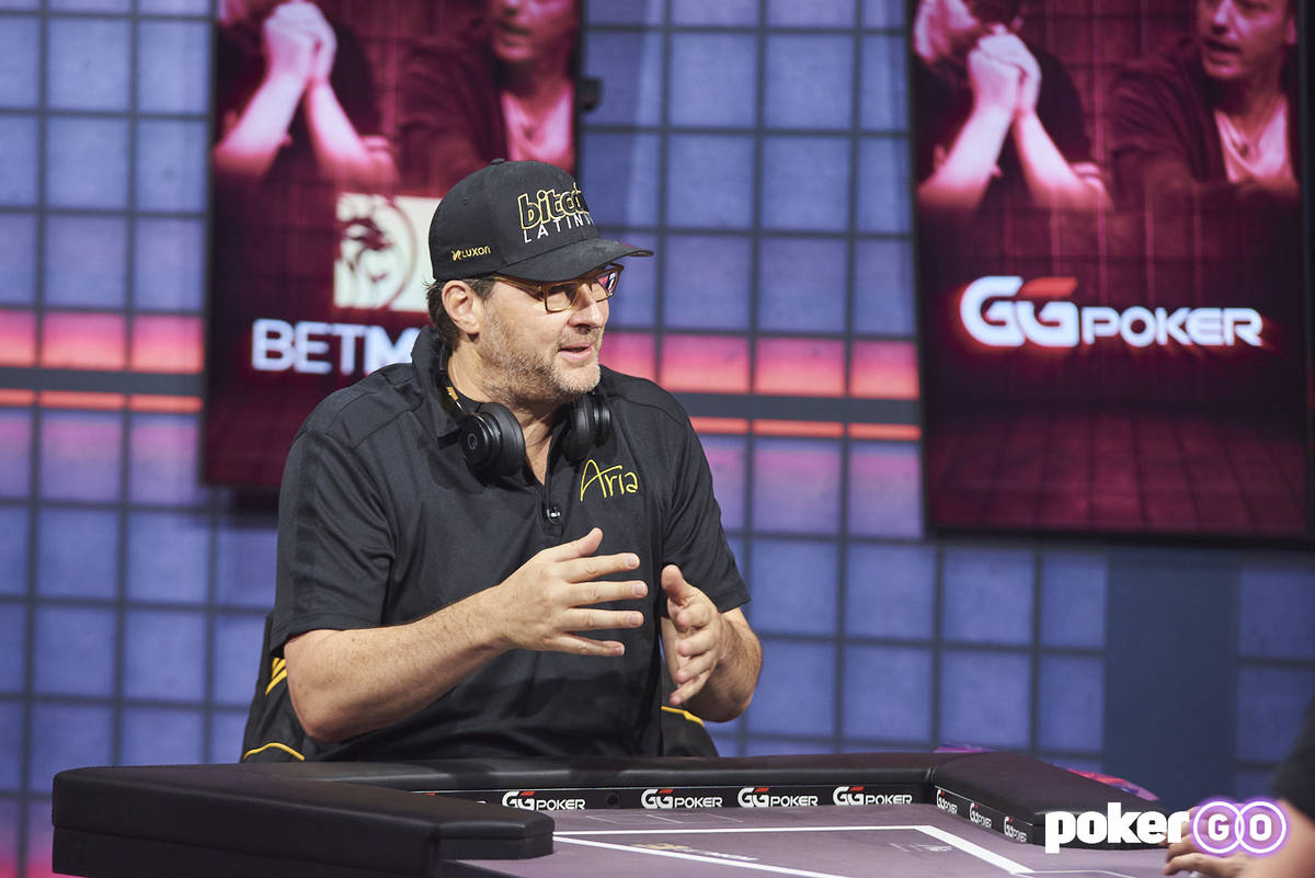 """Phil Hellmuth during """"High Stakes Duel"""" against Tom Dwan on Wednesday, Aug. 25, 2021, at the Po ..."""