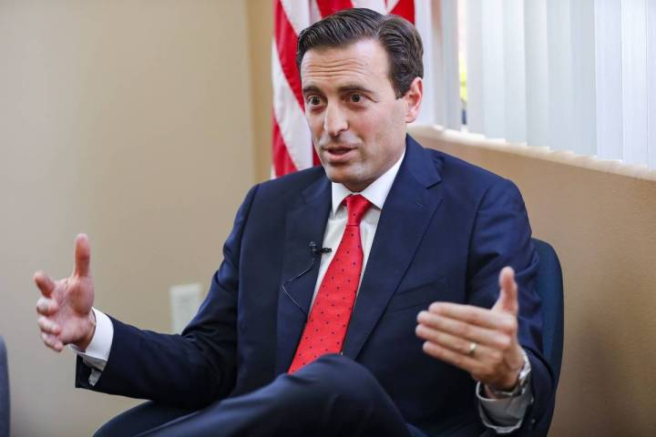 Adam Laxalt, who is running for a seat in the U.S. Senate, speaks to the Review-Journal at an o ...