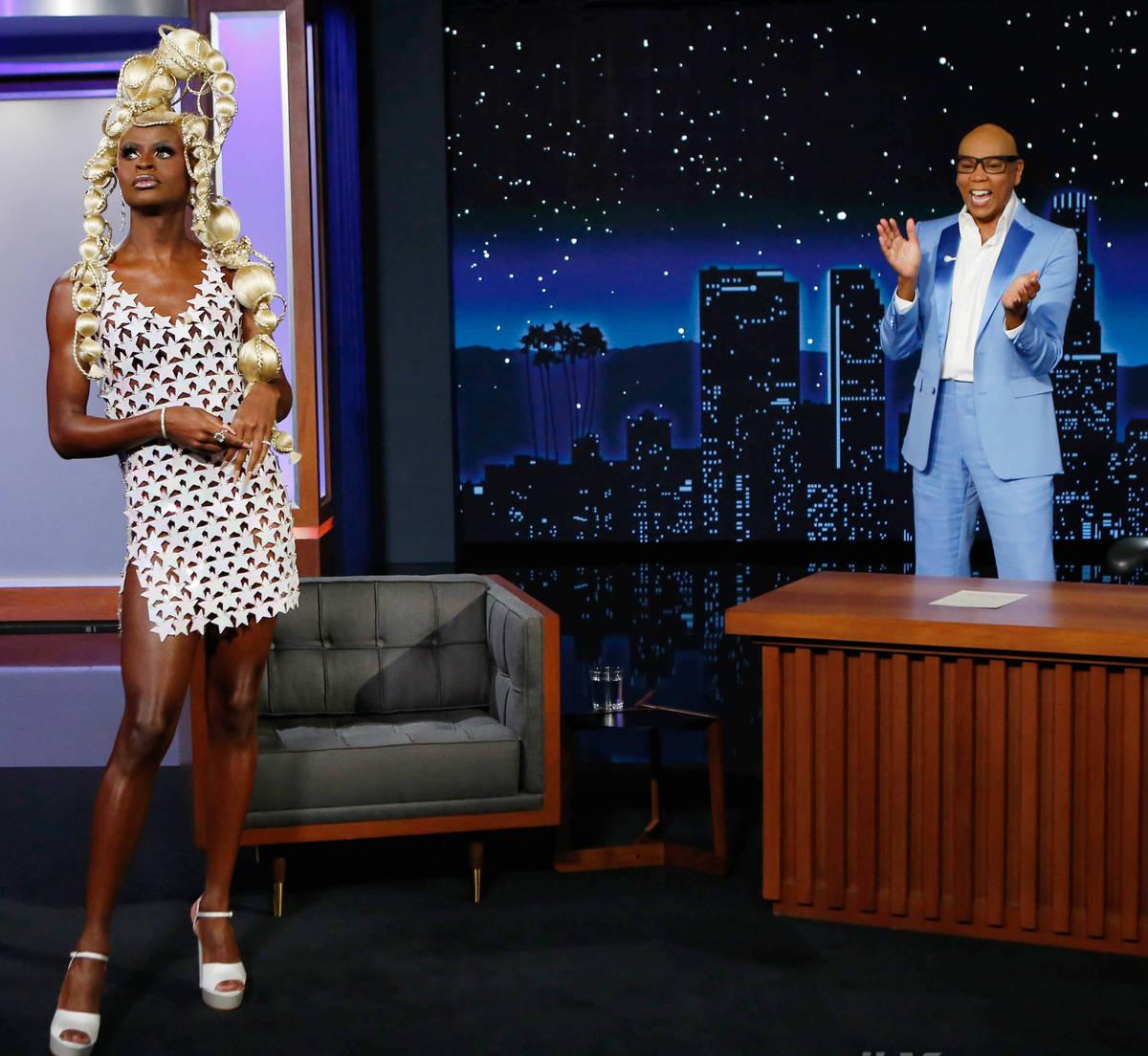 "Drag icon RuPaul is shown on ""Jimmy Kimmel Live"" with Symone, winner of ""RuPaul's Drag Race ..."