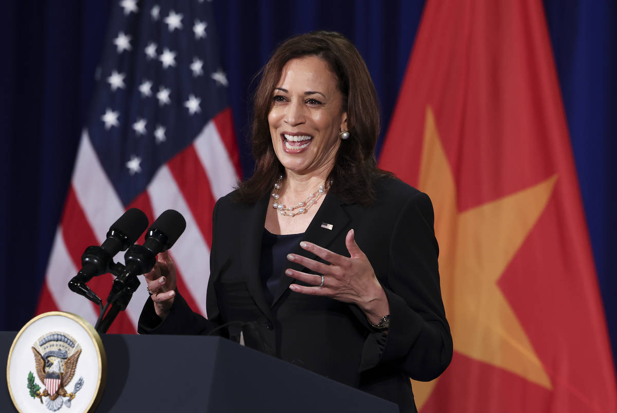 U.S. Vice President Kamala Harris holds a news conference before departing Vietnam for the Unit ...