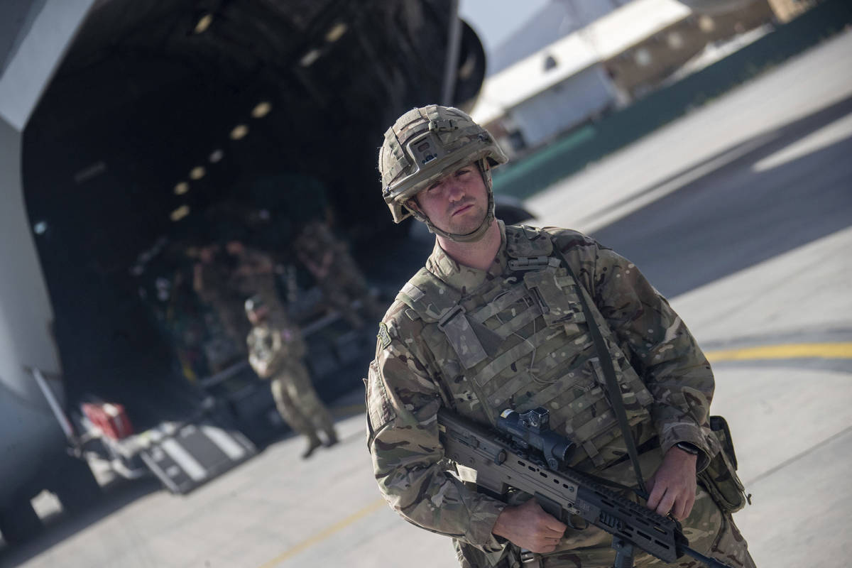 Photo issued on Saturday Aug. 28, 2021 by Britain's Ministry of Defence (MoD) showing UK milita ...