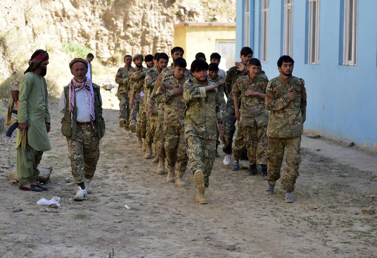 Militiamen loyal to Ahmad Massoud, son of the late Ahmad Shah Massoud, take part in a training ...