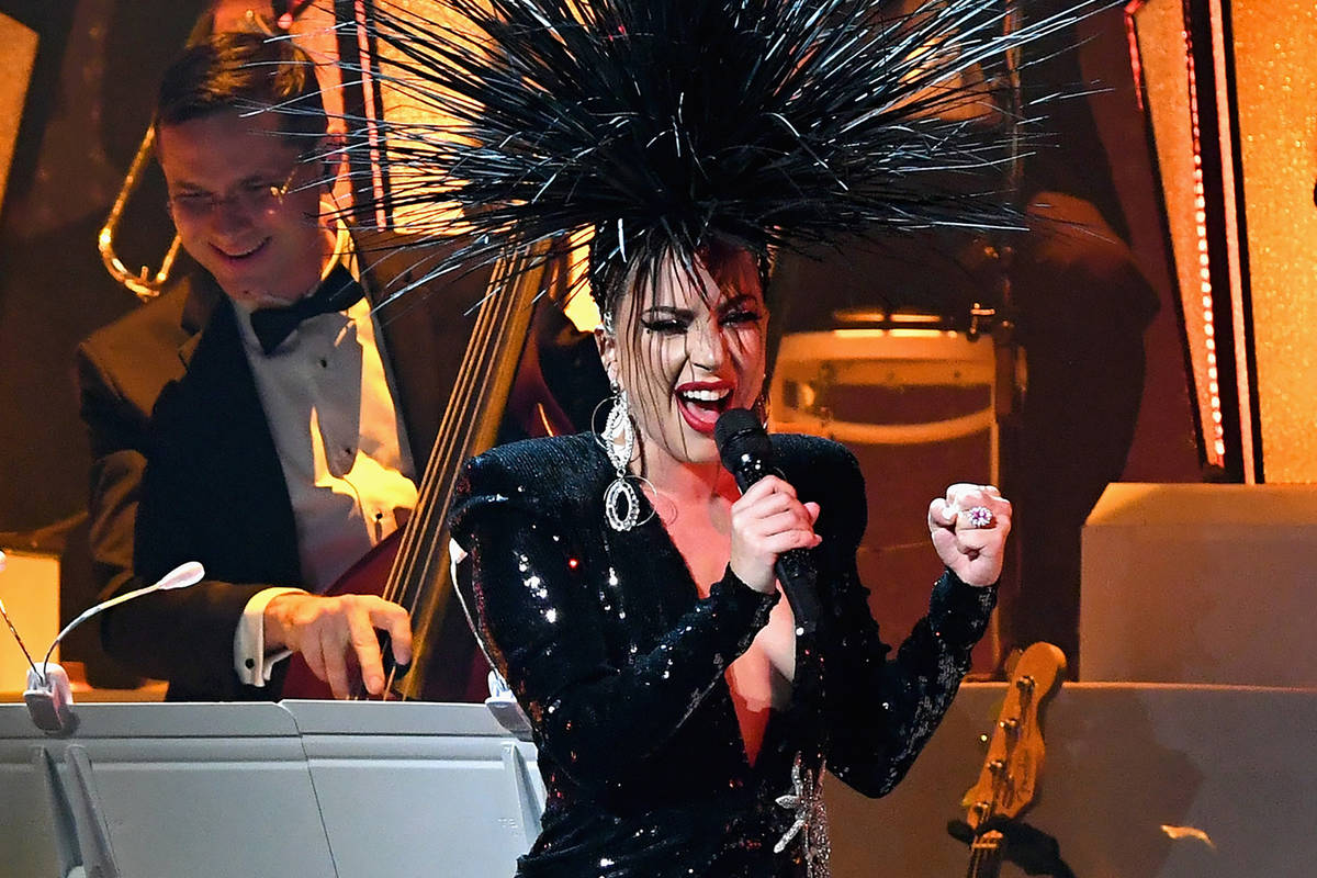Lady Gaga performs during her 'JAZZ & PIANO' residency at Park Theater at Park MGM on Jan. 20, ...