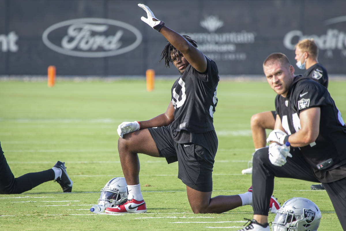 Raiders linebacker Nicholas Morrow (50) stretches during the teamÕs NFL training camp prac ...