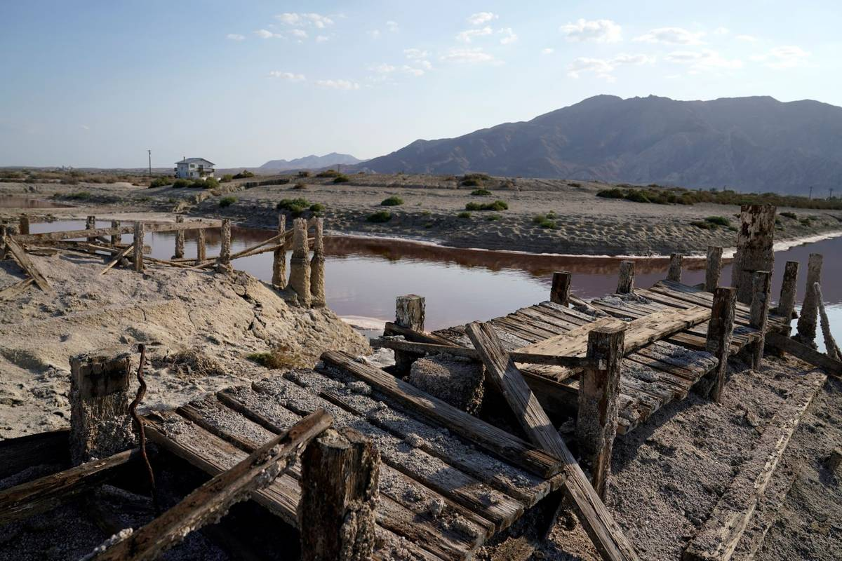 A dried up former boating dock is seen along the Salton Sea Wednesday, July 14, 2021, in Desert ...