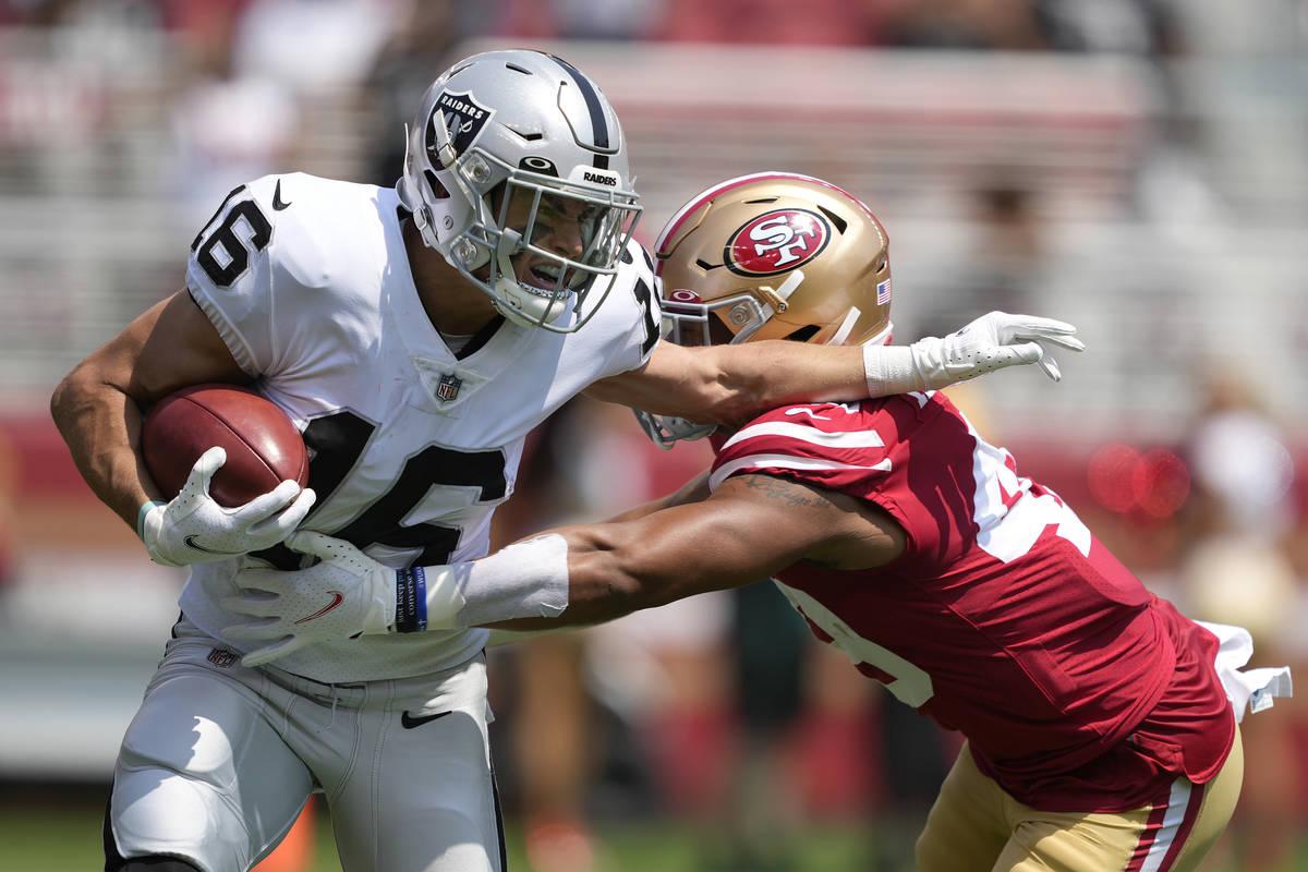 Las Vegas Raiders' Dillon Stoner (16) runs against San Francisco 49ers' Elijah Mitchell an NFL ...