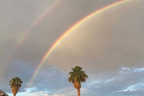 A double rainbow appears over Henderson Tuesday morning, Aug. 31, 2021. (Michael Quine/Las Vega ...