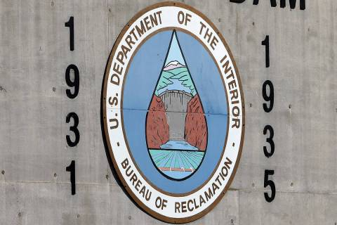 The historic Bureau of Reclamation seal and the construction start date (1931) and dedication d ...