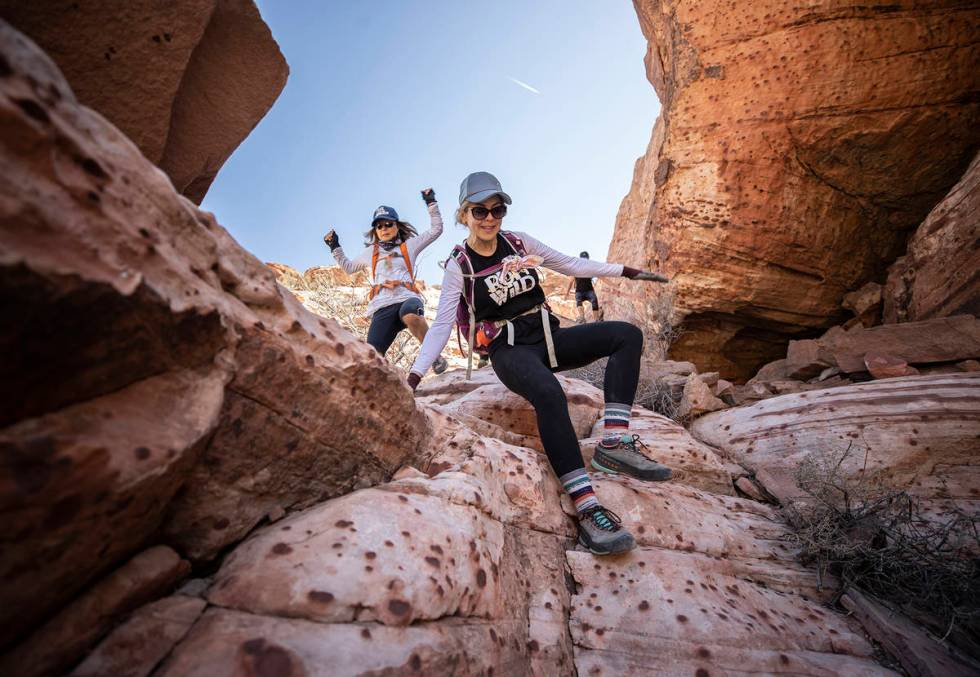Julie Johnson descends Kraft Mountain at Red Rock Canyon on Wednesday, March 31, 2021, in Las V ...