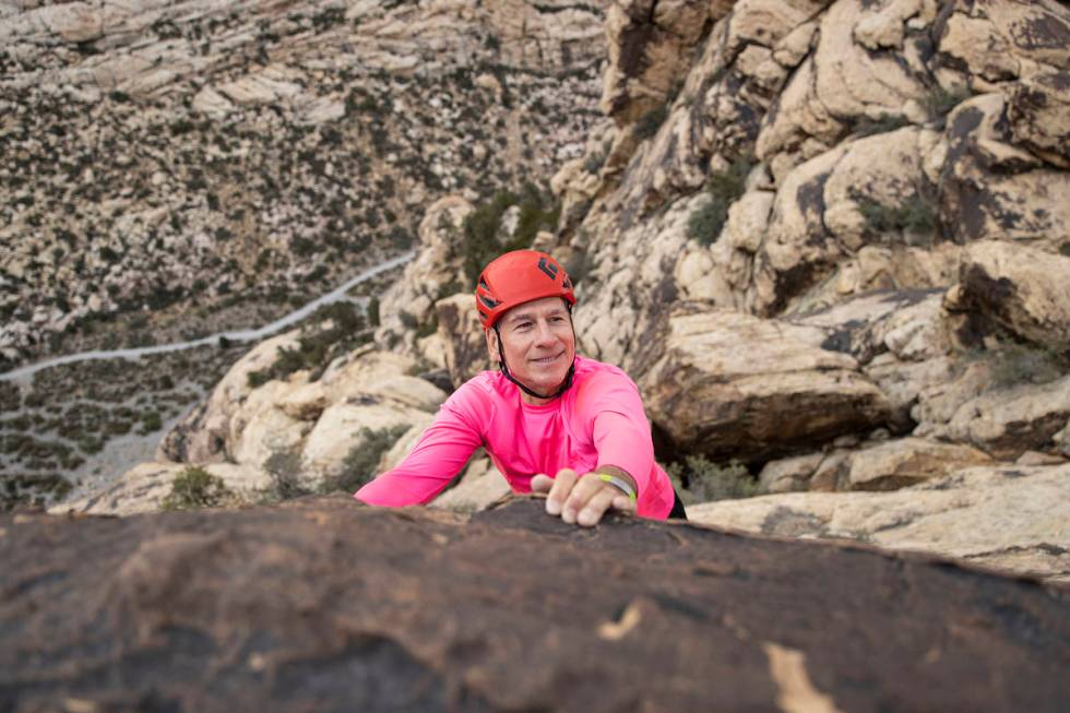 52 Peaks leader Bruce Small hikes at Red Rock Canyon on Wednesday, June 23, 2021, in Las Vegas. ...