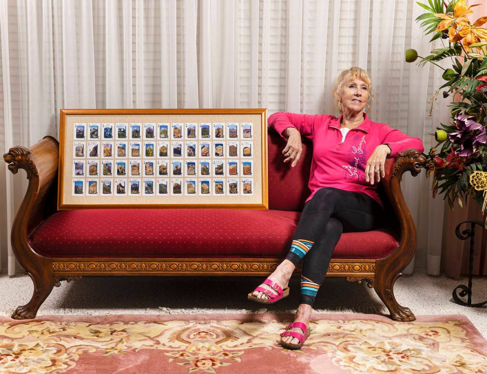 52 Peaks Hiker Rita Wagner with her framed, completed deck on Monday, April 26, 2021, at her ho ...