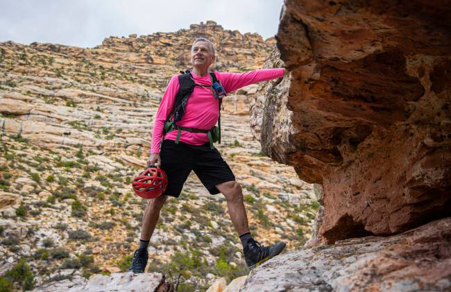 52 Peaks leader Bruce Small at Red Rock Canyon on Wednesday, June 23, 2021, in Las Vegas. (Benj ...
