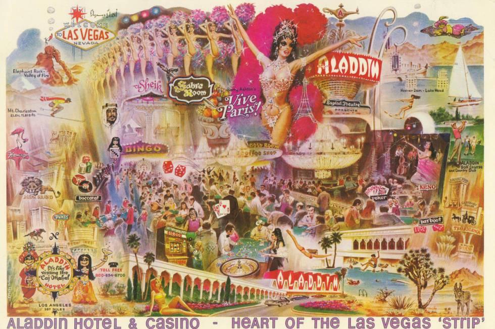Foto FILE: Kartu pos Nevada yang bersejarah menampilkan Aladdin Hotel di Las Vegas Strip.