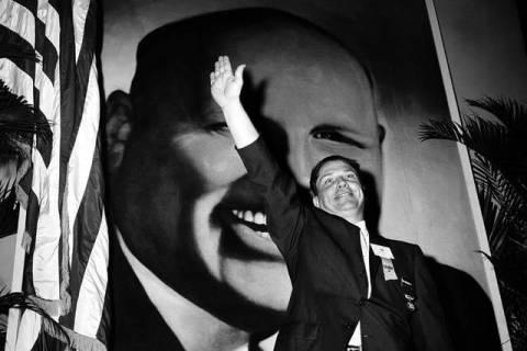 In this Sept. 30, 1957 file photo, Jimmy Hoffa, Teamsters vice president, waves to delegates at ...
