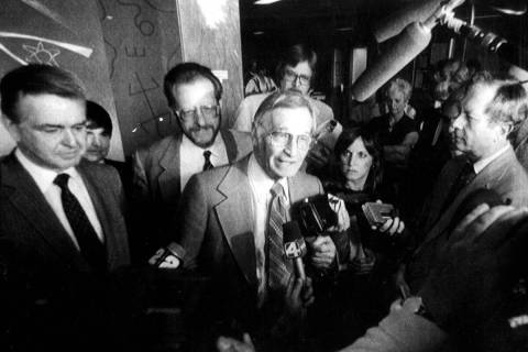 U.S. District Judge Harry Claiborne talks to reporters after the jury in his political corrupti ...