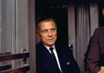 In this Aug. 21, 1969 file photo, Teamsters Union leader James Hoffa is shown in Chattanooga, T ...