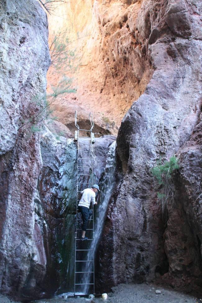 Dennis Boulton dari Las Vegas menaiki tangga setinggi 20 kaki untuk mencapai Sumber Air Panas Arizona.  (Debora...