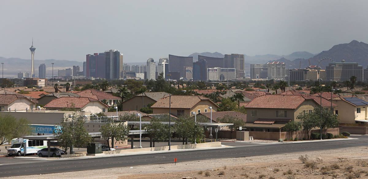 A view of the Las Vegas Strip skyline, as seen from the construction site of Evora, a 42-acre p ...