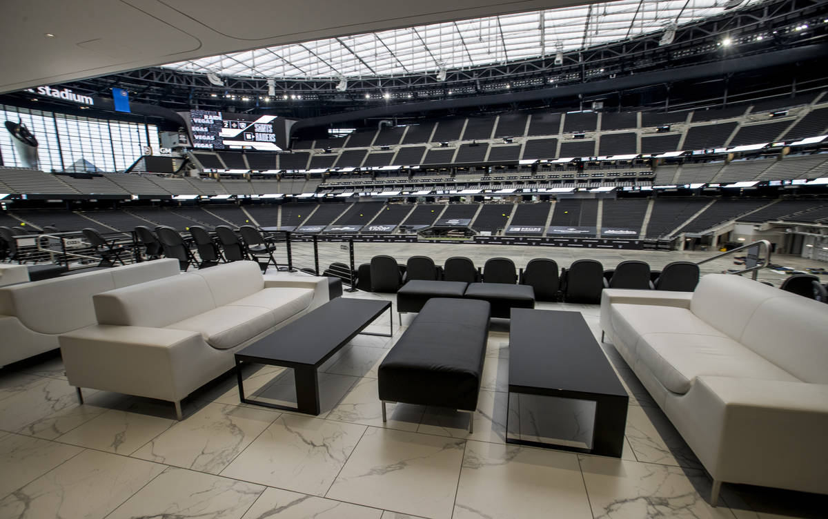 Some great seats are available in the Twitch-branded lounge during an Allegiant Stadium tour on ...
