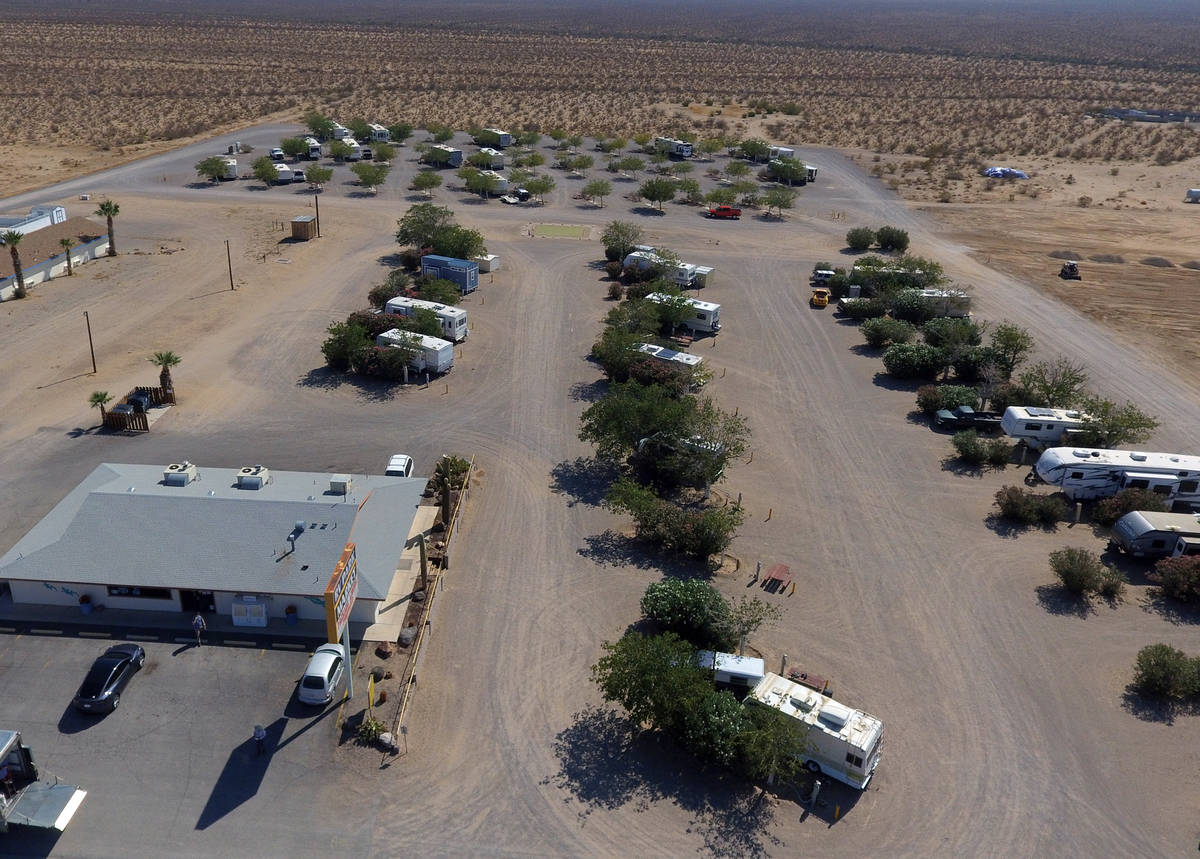 Cal Nev Ari Market and RV Park are shown in Cal-Nev-Ari, a town, off a lonely stretch of Highwa ...
