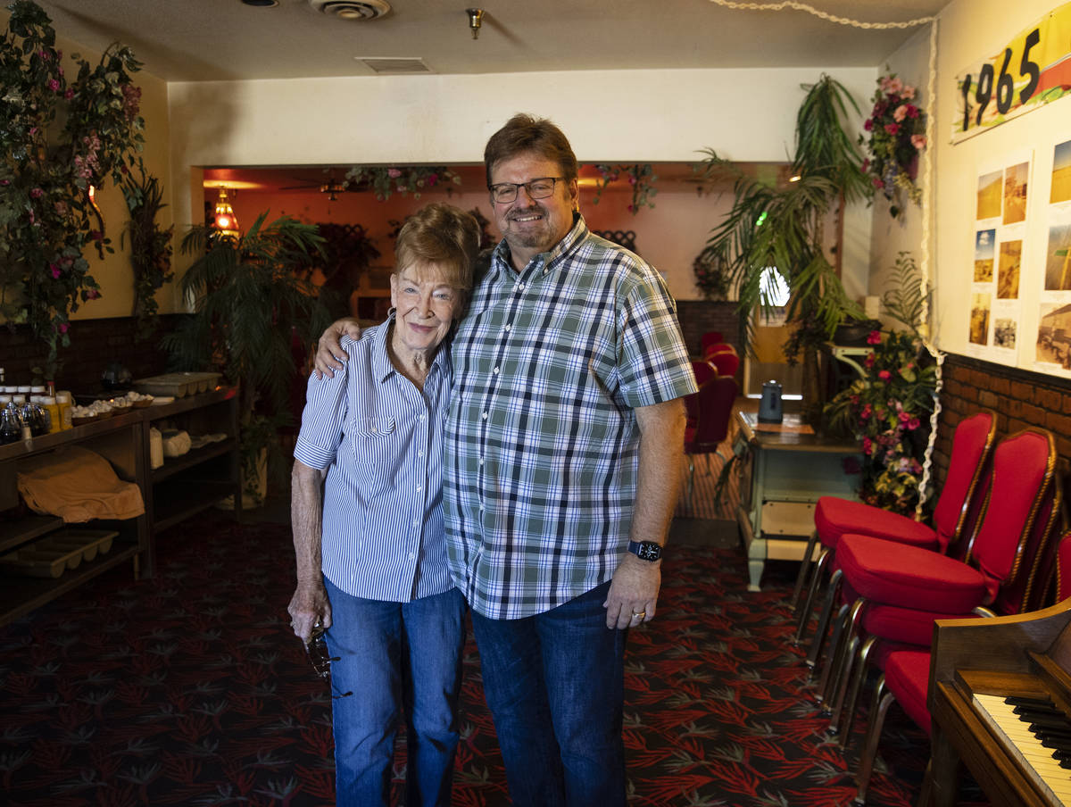 Co-founder of Cal-Nev-Ari, Nancy Kidwell, left, and Jerry Tyler, president of Heart of Nature a ...
