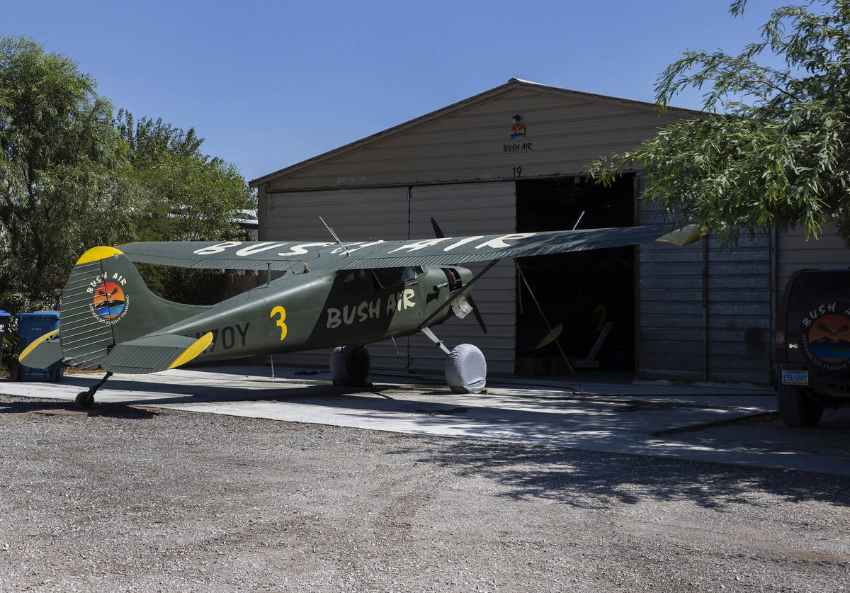 A Cessna 170-B is parked outside itͳ hanger at Bush Air flight school, on Thursday, Aug. ...