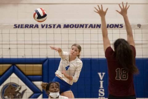 Sierra Vista's Maysen Bruschke (4) serves during a girls high school volleyball game aga ...